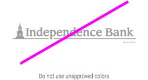 independence Bank unacceptable logo in bad colors
